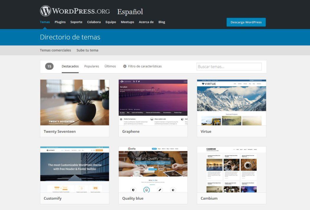Imagen de WordPress.org con las mejores plantillas para un diseñador web