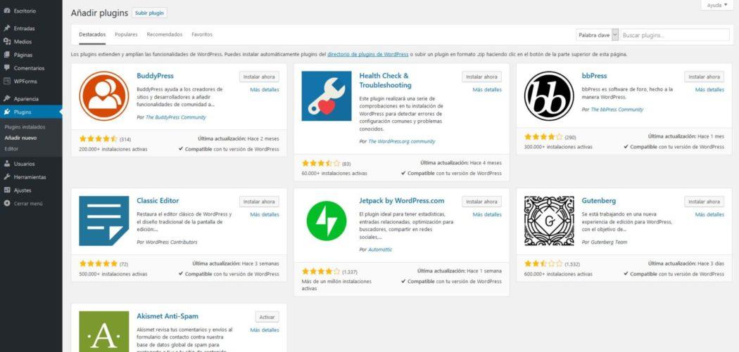 Imagen del selector de plugins de WordPress, con JetPack by WordPress disponible