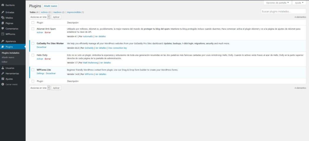 Imagen de la pantalla de plugins instalados en WordPress