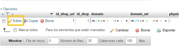 phpMyAdmin WordPress_detalle_cambiar URL