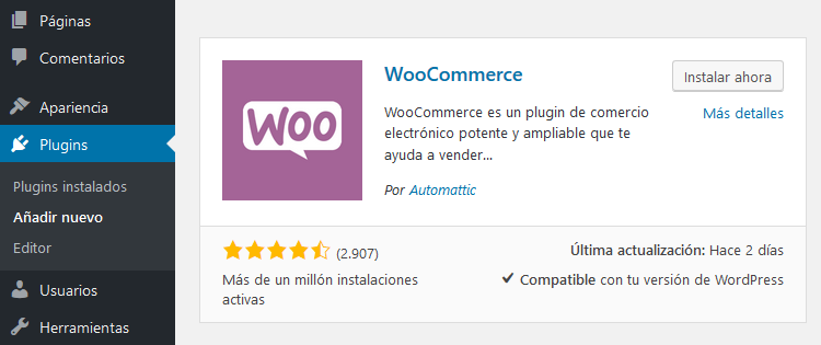 Instalar plugins WooCommerce