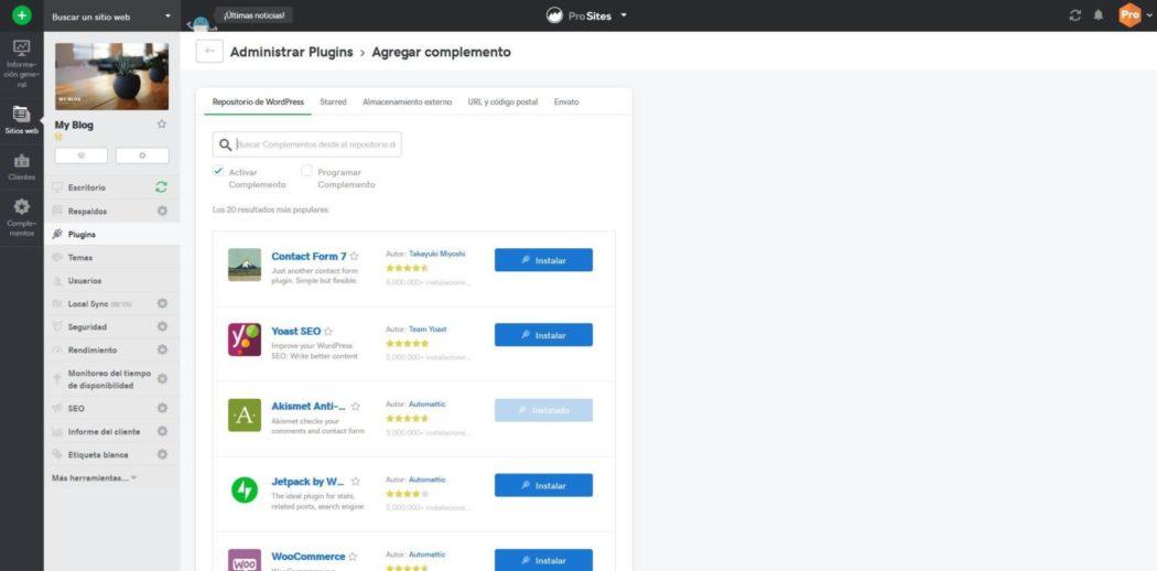 Imagen del selector de plugins para instalar en Pro Sites