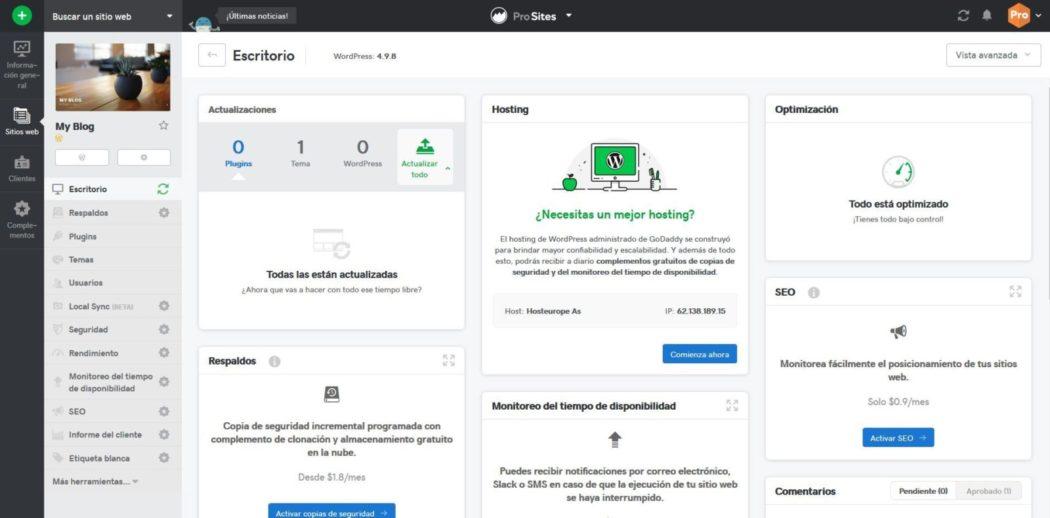 Imagen del panel de control de un sitio web en Pro Sites