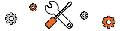 Imagen de un destornillador y una llave inglesa, denotando el rendimiento de una máquina