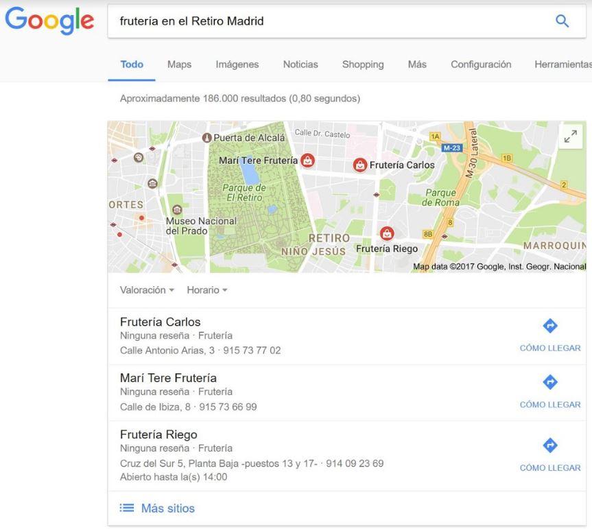 Resultados de Maps en Google