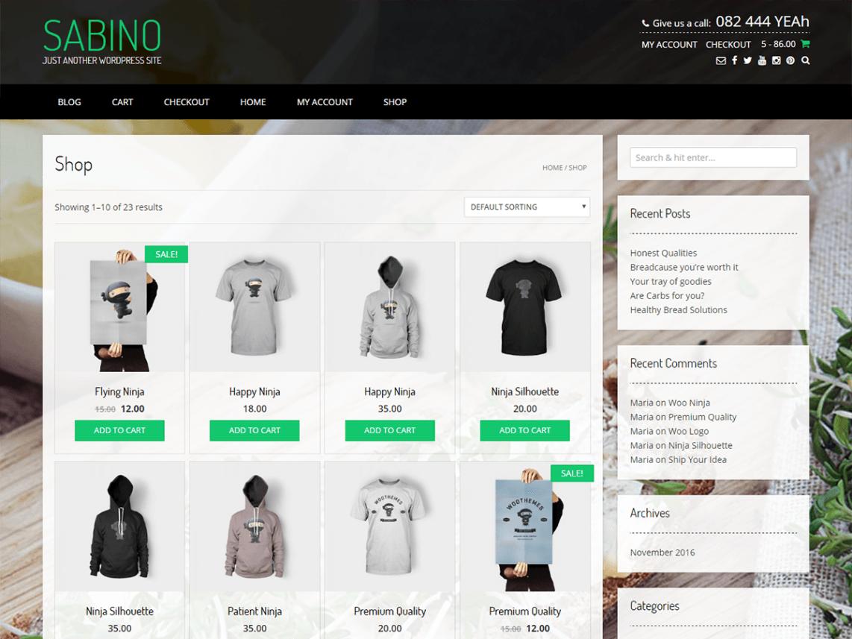 Sabino plantillas gratis para WordPress ecommerce