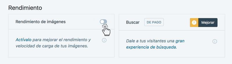 """Imagen de la sección del plugin jetpack para activar el botón """"rendimiento de imágenes"""""""