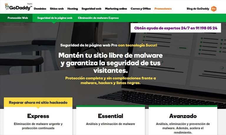 Seguridad de la página web de GoDaddy