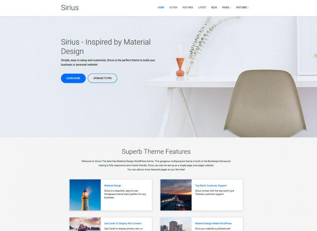 Sirius plantillas landing pages gratis