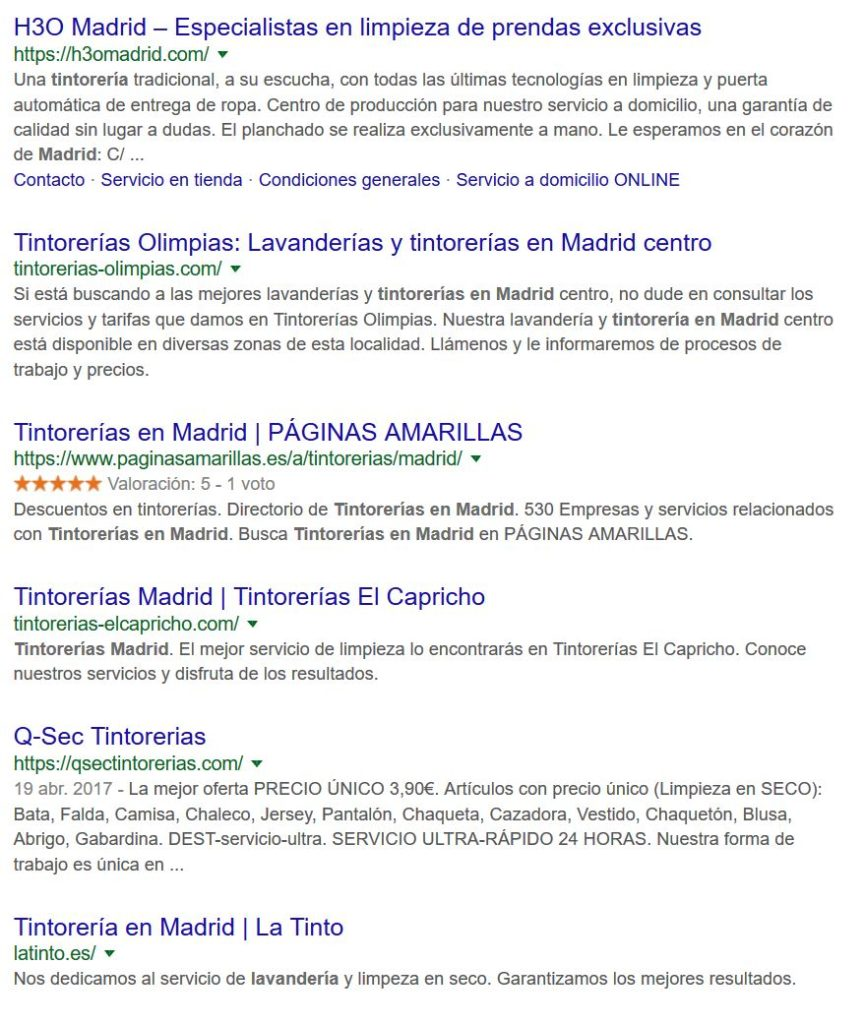 tintoreria Madrid