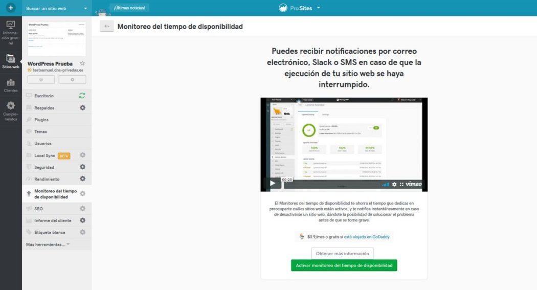 """Imagen de """"Uptime"""" donde podemos activar el servicio en Pro Sites"""