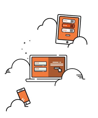 Imagen de varios dispositivos móviles con servicios de hosting web