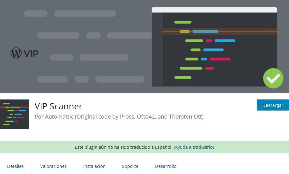 Imagen de VIP Scanner, un plugin WordPress para escanear archivos en un hosting web